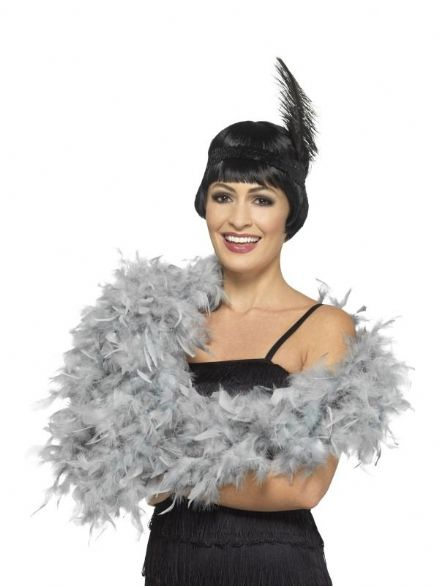 Deluxe Grey Feather Boa
